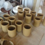 Voici les pots qui viennent d'être créés pour poser des différentes sortes frittes dessus.